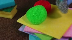 Sponges for dish washing and cleaning wipes Stock Footage