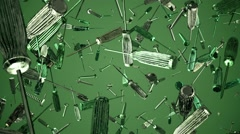 Flying screwdrivers and screws on green Stock Footage