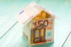 House Made From Fifty Euro Banknotes - stock photo