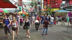Petaling street market in Kuala Lumpur Chinatown Stock Footage