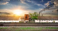 Rails and station Stock Photos