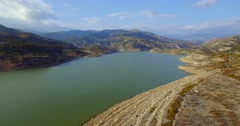 4K Aerial, Flight over barrier lake in Andalusia, Spain Stock Footage