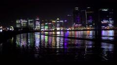 Bright lights of the Gwangalli Beach at night. Busan, South Korea Stock Footage