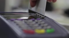 Payment by Credit Card Through the Terminal Stock Footage