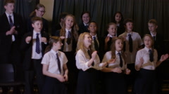 4K Young students singing in rehearsal for school musical production Stock Footage