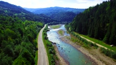Aerial view of the mountain river in Carpathians Stock Footage