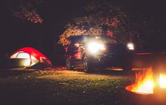Camping Adventure. Tent Camping in the Deep Forest. - stock photo