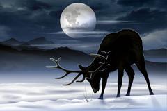 Elk Winter Meadow Illustration. North American Elk - stock illustration