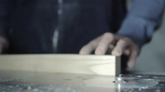 Hand of the Master Cutting Board on Woodworking Machines. - stock footage