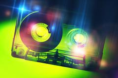 Retro Disco Audio Cassette. Vintage Discotheque Colorful Concept. - stock photo