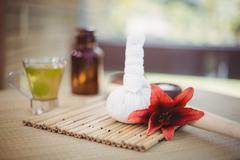 Tray of beauty therapy items at the health spa Stock Photos