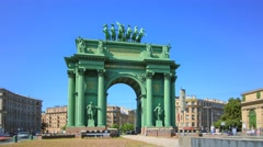 The Narva Triumphal Arch hyperlapse in Saint Petersburg Stock Footage