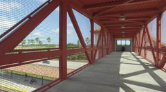 Overpass over train tracks at a train station - stock footage
