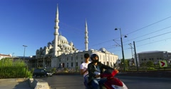 Yenicami Mosque in Summertime. City center in Istanbul, Turkey. 4096x2160 24 fps Stock Footage