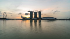 Singapore city skyline at sunset, from dusk to night, 4k time lapse video. Stock Footage