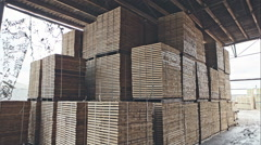 Stock of timber wood construction in warehouse. RAW video record - stock footage