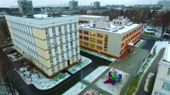 Aerial View of Moscow School New Building Education Stock Footage