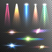 Light Beams Color on Black composition - stock illustration