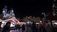 Walking in the Old Town square on Christmas in Prague Stock Footage