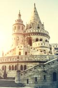 view on famous Fishermen Bastion in Budapest - stock photo