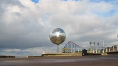 Mirror Ball on Blackpool promenade. - stock footage