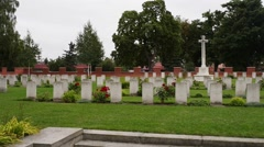 Memorial of Red Army soldiers in Malbork, Poland Stock Footage