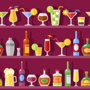 Cocktail Glasses And Bottles On Shelves - stock illustration