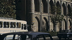 Tehran, Iran 1973: traffic outside a Mosque - stock footage