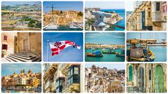 collage of Maltese sights and symbols - stock photo