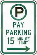 United States MUTCD regulatory road sign - 15 minute parking - stock illustration