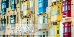 Stock Photo of postcard Valletta street with traditional colorful balconies