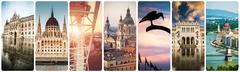 Set of beautiful buildings and sights of Budapest Stock Photos