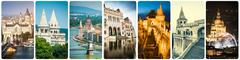 Collage of Budapest sights at night Stock Photos