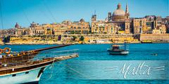 postcard with View of Marsamxett Harbour and Valletta - stock photo