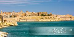 postcard with view on Valletta from sea - stock photo
