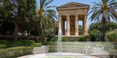 Stock Photo of postcard with Lower Barrakka Gardens in Valletta