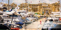 Postcard with yachts in Valletta pot Stock Photos