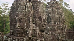 Ancient Stone Sculptures at Bayon Temple, with Nature Sounds Stock Footage