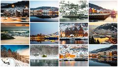 collage of winter and attractions in Bergen - stock photo