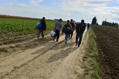refugees in Šid (Serbian - Croatina border) - stock photo