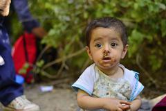 refugees in Babska (Serbian - Croatina border) - stock photo