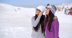 Laughing young woman on winter vacation - stock footage