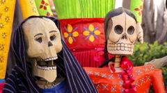 Colorful skeleton sculptures. Stock Footage