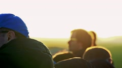 Slowmotion people stand and observe landscape Stock Footage