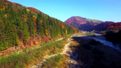 Aerial view of autumn Carpathians mountains Stock Footage