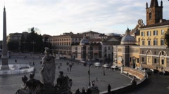 Piazza del Popolo is urban square in Rome, Italy Stock Footage