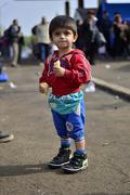 refugees leaving Hungary - stock photo