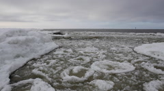 Icy sea water, wave sound - stock footage
