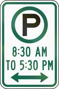 United States MUTCD regulatory road sign - Parking at specified times Stock Illustration