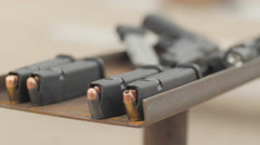Loaded Magazines Ready to Be Fired Stock Footage